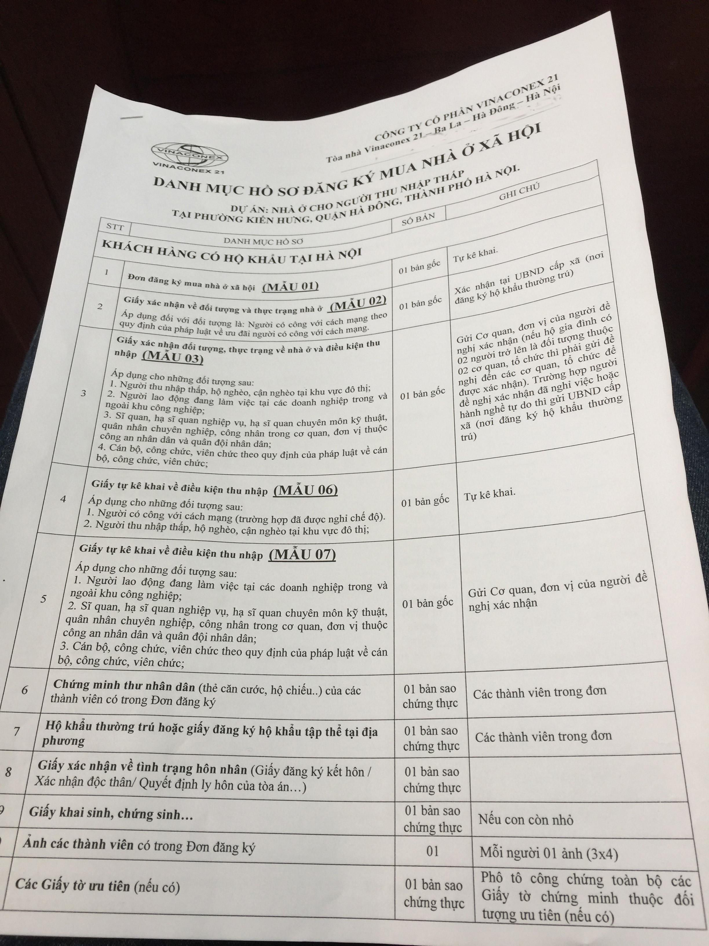 Thủ tục - hồ sơ đăng ký mua nhà ở xã hội Lucky House Kiến Hưng Hà Đông