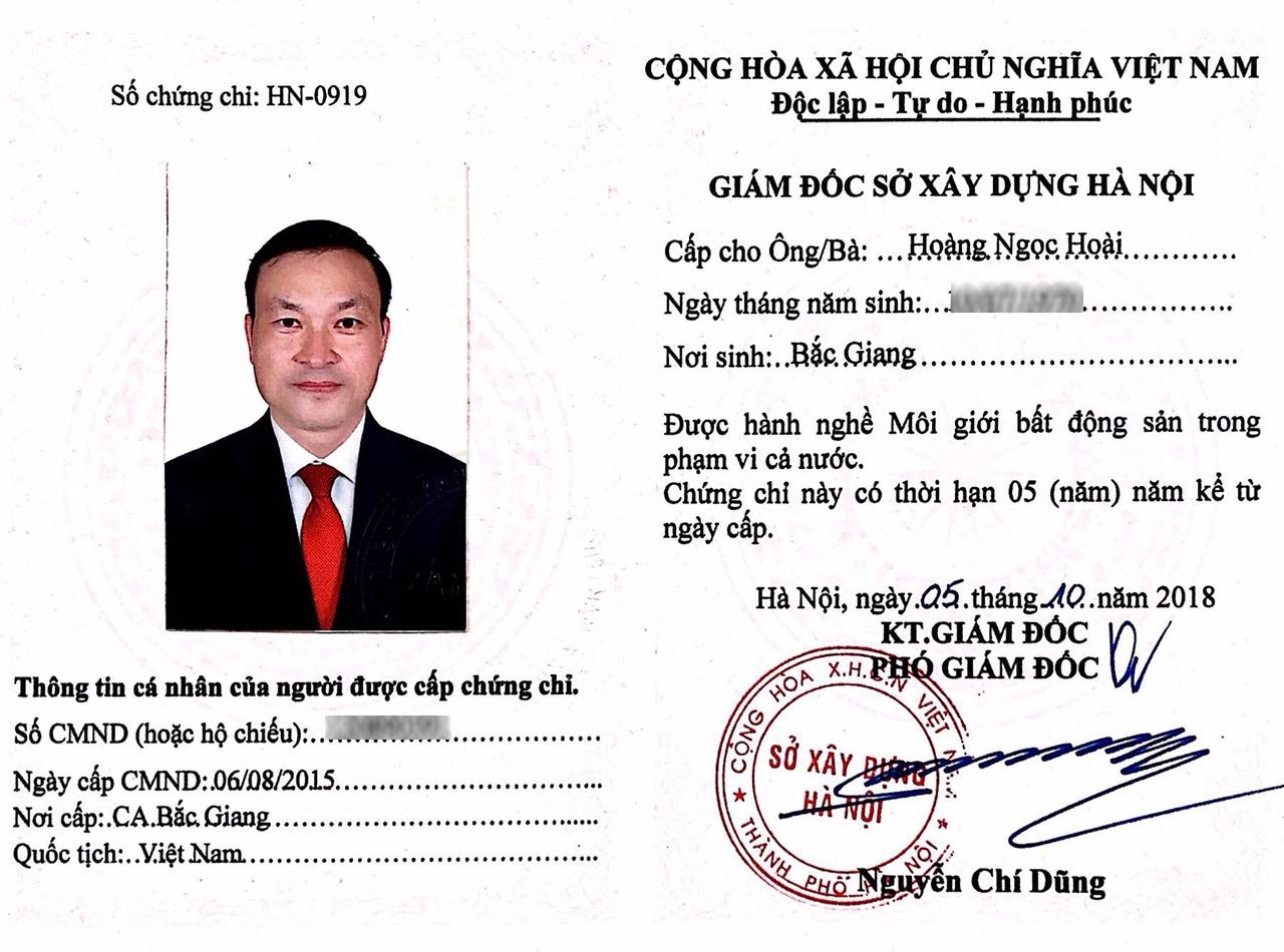 Chứng chỉ hành nghề môi giới bất động sản ông Hoàng Ngọc Hoài