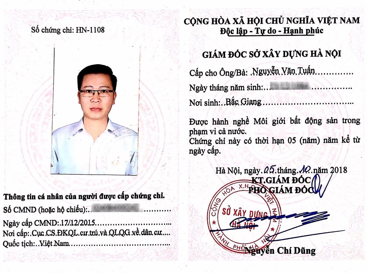 Chứng chỉ hành nghề môi giới bất động sản ông Nguyễn Văn Tuấn